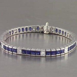 Jewelry - Blue Sapphire Diamond Tennis Bracelet Princess Cut